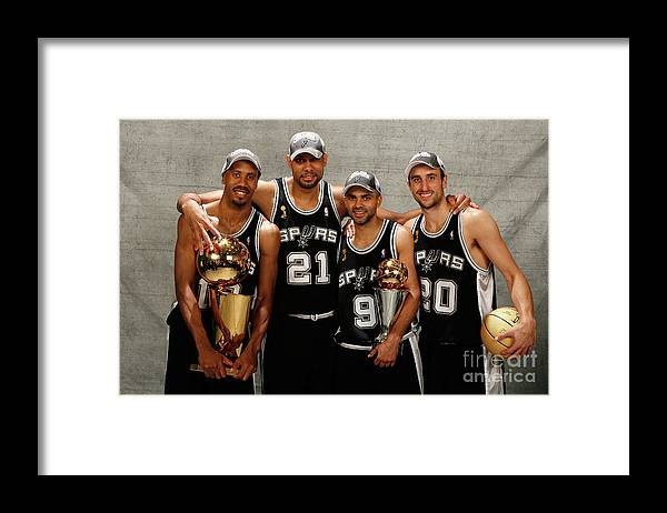 Playoffs Framed Print featuring the photograph Tim Duncan and Bruce Bowen by Nathaniel S. Butler