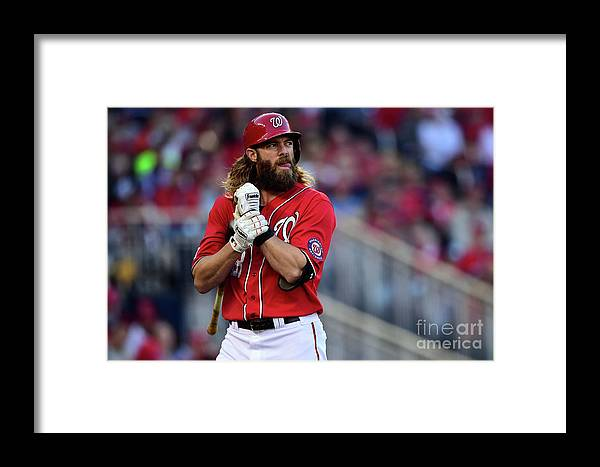 Game Two Framed Print featuring the photograph Tim Hudson And Jayson Werth by Patrick Smith