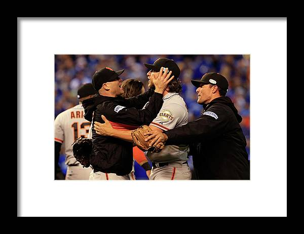 People Framed Print featuring the photograph Tim Hudson and Madison Bumgarner by Jamie Squire