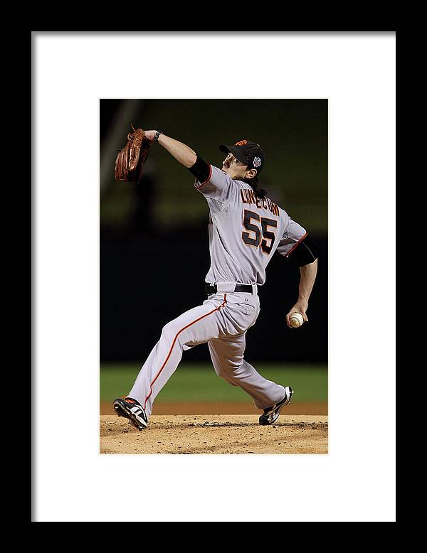 American League Baseball Framed Print featuring the photograph Tim Lincecum by Doug Pensinger