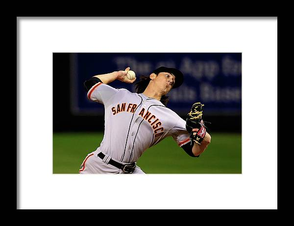 Game Two Framed Print featuring the photograph Tim Lincecum by Jamie Squire