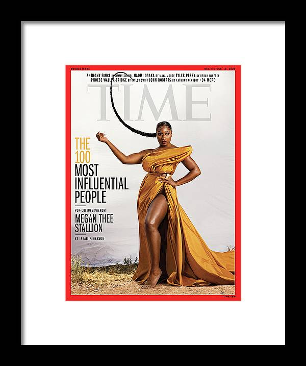 Time 100 Most Influential People Framed Print featuring the photograph TIME 100 - Megan Thee Stallion by Photograph by Dana Scruggs for TIME