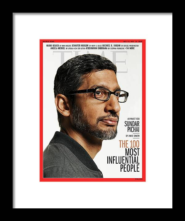 2020 Time 100 Most Influential People Framed Print featuring the photograph TIME 100 - Sundar Pichai by Photograph by Paola Kudacki for TIME