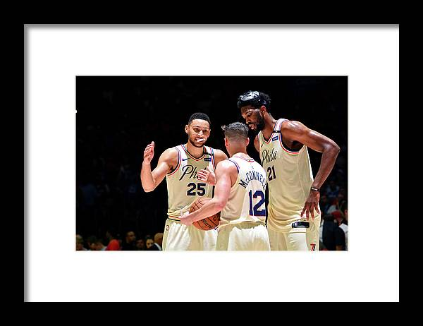 Playoffs Framed Print featuring the photograph T.j. Mcconnell, Ben Simmons, and Joel Embiid by Jesse D. Garrabrant