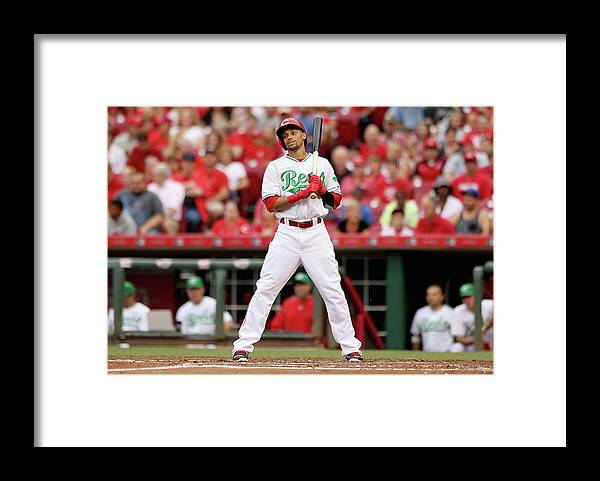 Great American Ball Park Framed Print featuring the photograph Todd Frazier and Billy Hamilton by Andy Lyons