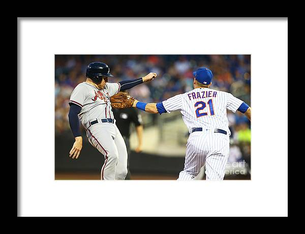 Three Quarter Length Framed Print featuring the photograph Todd Frazier and Freddie Freeman by Mike Stobe