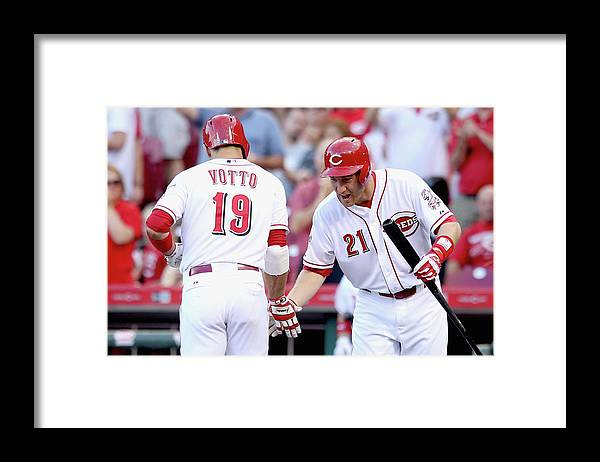 Great American Ball Park Framed Print featuring the photograph Todd Frazier and Joey Votto by Andy Lyons