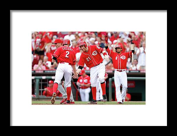 Great American Ball Park Framed Print featuring the photograph Todd Frazier, Homer Bailey, and Zack Cozart by Joe Robbins