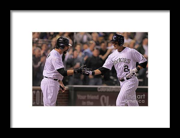 People Framed Print featuring the photograph Todd Helton, Clayton Kershaw, and Troy Tulowitzki by Doug Pensinger