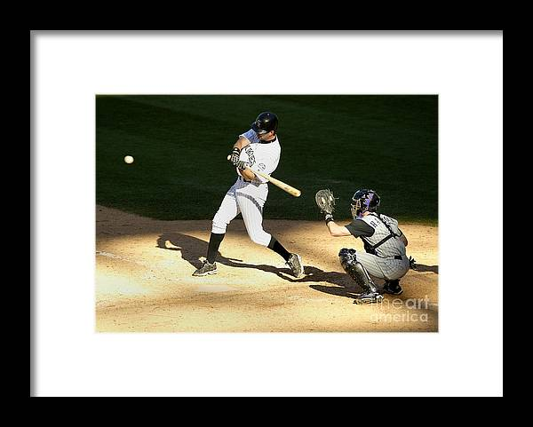 People Framed Print featuring the photograph Todd Helton, Rod Barajas, and John Patterson by Brian Bahr