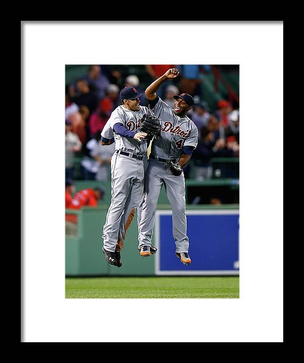 American League Baseball Framed Print featuring the photograph Torii Hunter and Austin Jackson by Jared Wickerham