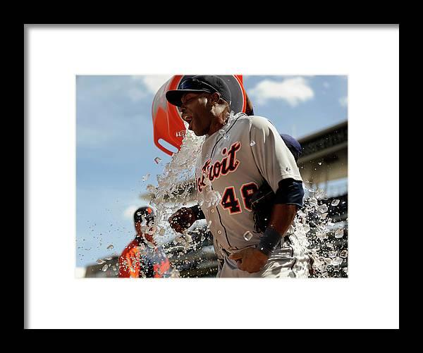 American League Baseball Framed Print featuring the photograph Torii Hunter and Prince Fielder by Hannah Foslien