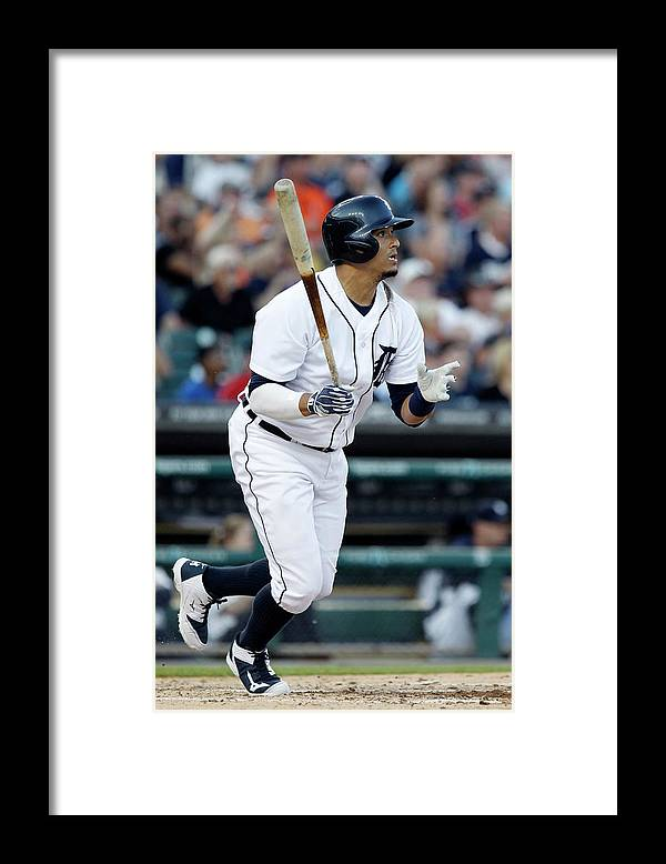 American League Baseball Framed Print featuring the photograph Torii Hunter and Victor Martinez by Duane Burleson