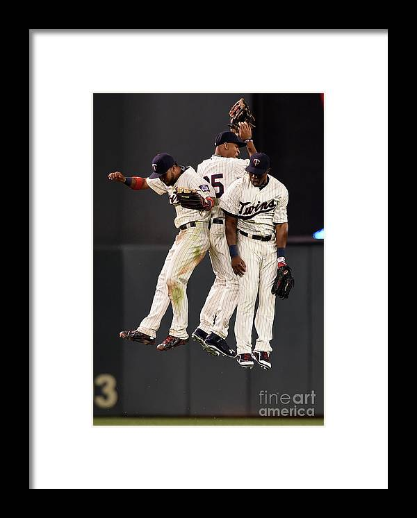 People Framed Print featuring the photograph Torii Hunter, Byron Buxton, and Eddie Rosario by Hannah Foslien