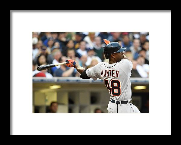 American League Baseball Framed Print featuring the photograph Torii Hunter by Denis Poroy