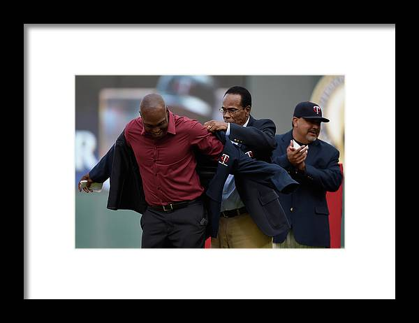 Three Quarter Length Framed Print featuring the photograph Torii Hunter, Rod Carew, and Eddie Guardado by Hannah Foslien