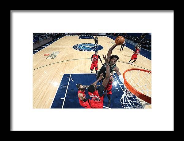Nba Pro Basketball Framed Print featuring the photograph Toronto Raptors v Minnesota Timberwolves by David Sherman