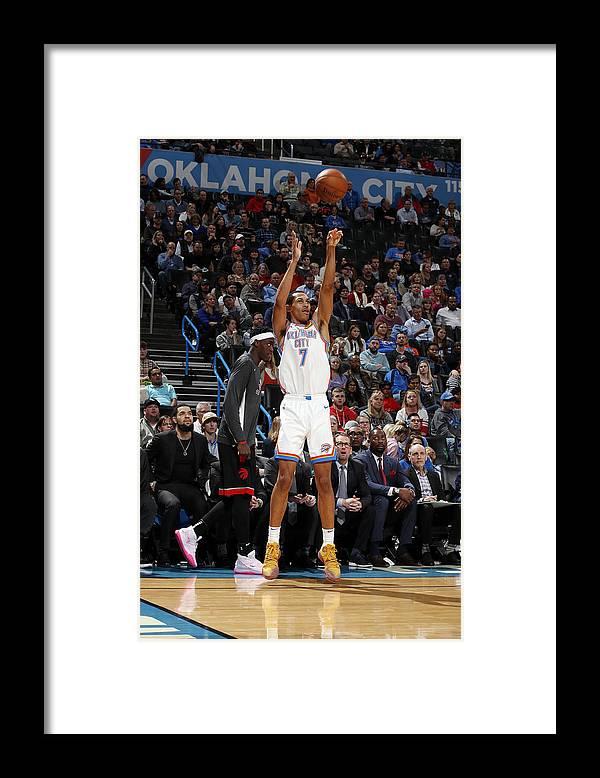 Nba Pro Basketball Framed Print featuring the photograph Toronto Raptors v Oklahoma City Thunder by Jeff Haynes