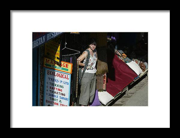 Thamel Framed Print featuring the photograph Tourist Area Of Kathmandu Unusually Quiet by Paula Bronstein
