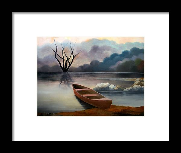 Duck Framed Print featuring the painting Tranquility by Sergey Bezhinets