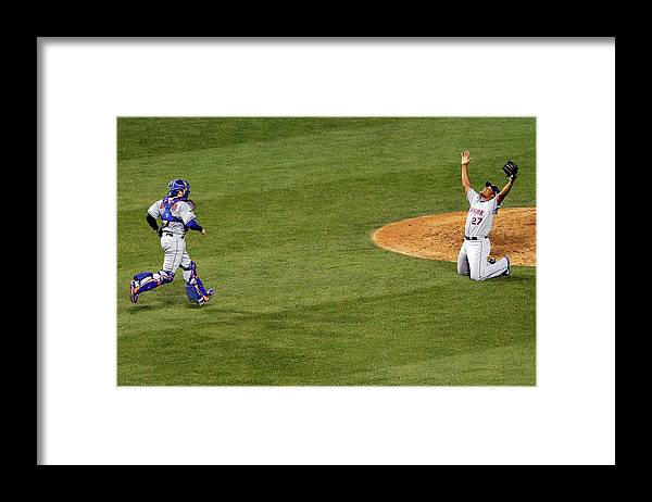 People Framed Print featuring the photograph Travis D'arnaud and Jeurys Familia by Jon Durr