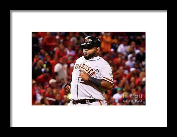 Travis Ishikawa Framed Print featuring the photograph Travis Ishikawa and Pablo Sandoval by Dilip Vishwanat