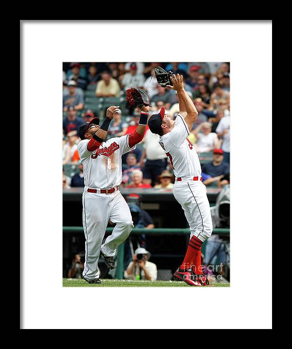 People Framed Print featuring the photograph Trevor Bauer and Carlos Santana by David Maxwell