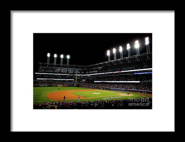 Game Two Framed Print featuring the photograph Trevor Bauer and Dexter Fowler by Jamie Squire