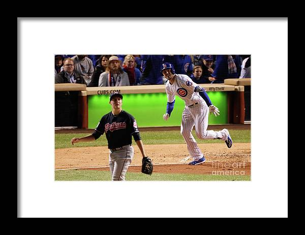 People Framed Print featuring the photograph Trevor Bauer and Kris Bryant by Jamie Squire