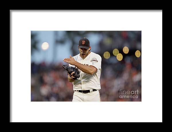 Trevor Story Framed Print featuring the photograph Trevor Story, Mac Williamson, and Madison Bumgarner by Ezra Shaw