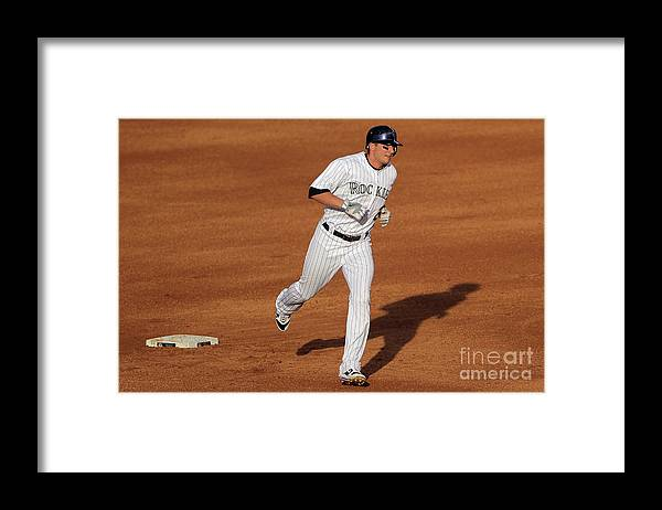 People Framed Print featuring the photograph Troy Tulowitzki and Chad Billingsley by Doug Pensinger