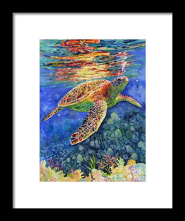 Turtle Framed Print featuring the painting Turtle Reflections by Hailey E Herrera