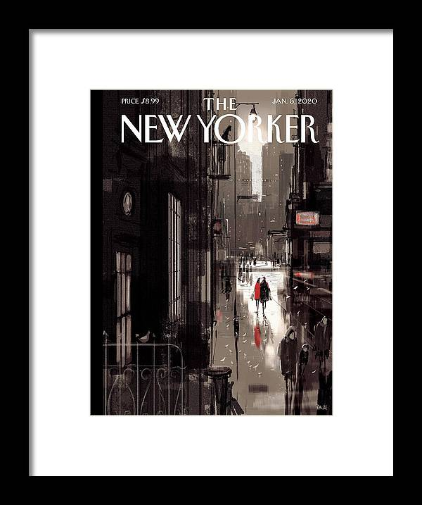 Twilight Avenue Framed Print featuring the drawing Twilight Avenue by Pascal Campion