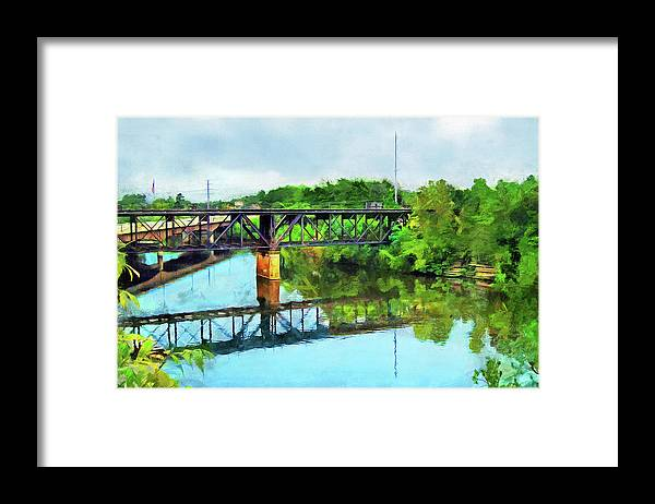 Landscape Framed Print featuring the photograph Two Bridges Over The River by Cedric Hampton