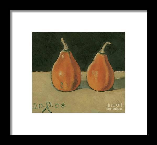 Still-life Pumpkins Orange Framed Print featuring the painting Two Orange Pumpkins by Raimonda Jatkeviciute-Kasparaviciene