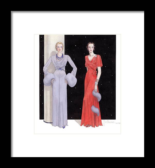 Holiday Framed Print featuring the drawing Two Women in Evening Gowns on a Starry Night by Georges Lepape