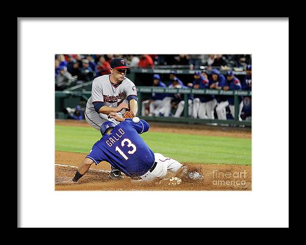 Baseball Catcher Framed Print featuring the photograph Tyler Duffey, Chris Gimenez, and Joey Gallo by Brandon Wade