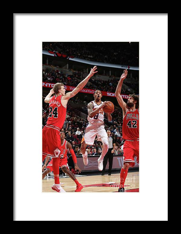 Chicago Bulls Framed Print featuring the photograph Tyler Ulis, Lauri Markkanen, and Robin Lopez by Gary Dineen