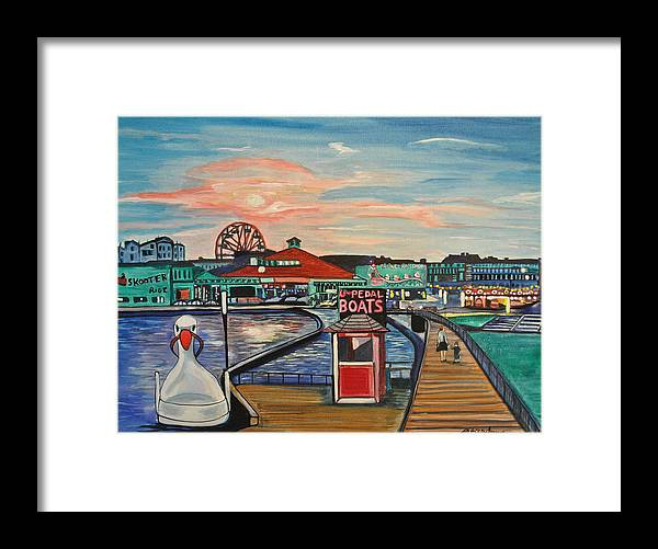 Asbury Art Framed Print featuring the painting U-Pedal the Boat by Patricia Arroyo