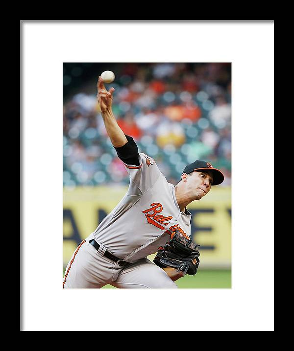 American League Baseball Framed Print featuring the photograph Ubaldo Jimenez by Scott Halleran