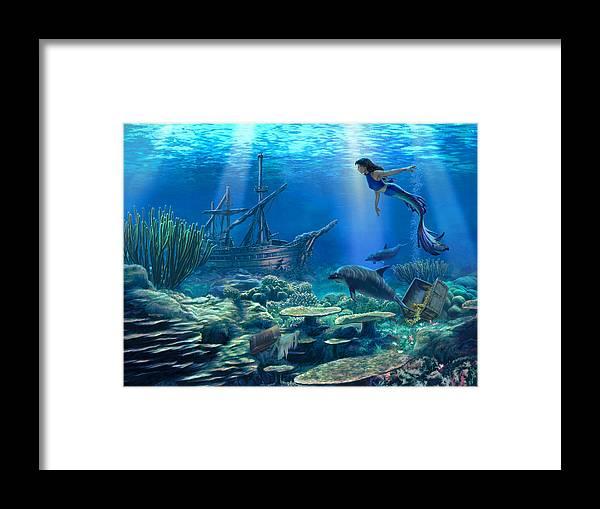 Mermaid Framed Print featuring the digital art Undersea Discovery by Stu Shepherd