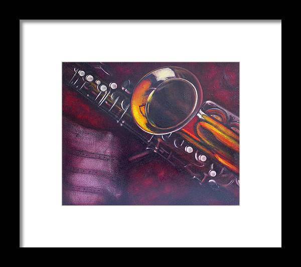 Oil Painting On Canvas Framed Print featuring the painting Unprotected Sax by Sean Connolly