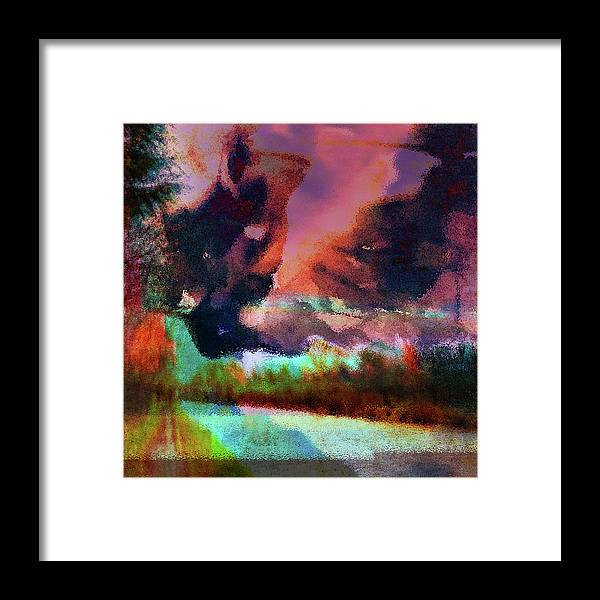 Fauvist Pink & Purple Skies Waterside Landscape Framed Print by Onlythemoon