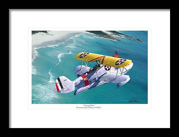 Aviation Framed Print featuring the painting Unsung Hero - Grumman J2F Duck by Mark Karvon