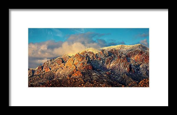 Albuquerque Framed Print featuring the photograph Unveiling Sandia Mountain and Crest by Zayne Diamond Photographic