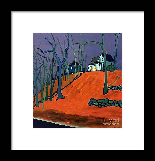 Houses On A Hill Framed Print featuring the painting Up Above Dunstable by Debra Bretton Robinson