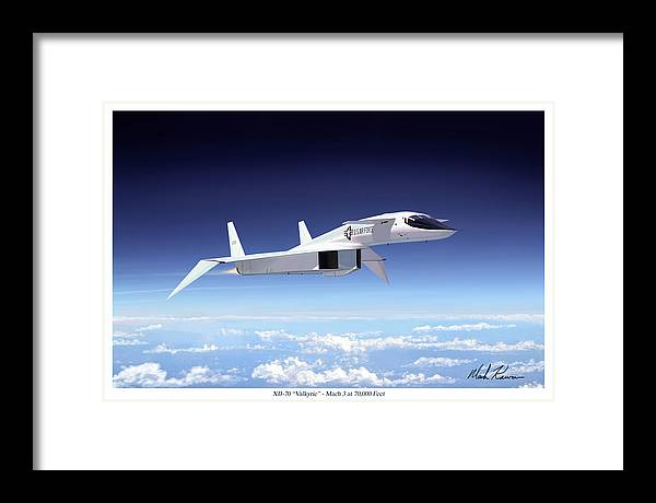 Aviation Framed Print featuring the painting Valkyrie - Mach 3 At 70000 Feet by Mark Karvon