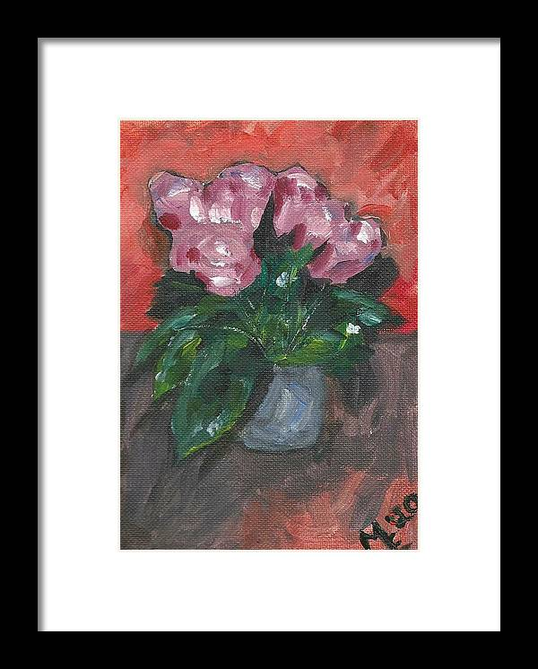 Rose Framed Print featuring the painting Vase of Roses by Monica Resinger