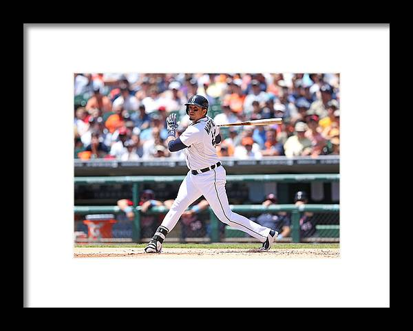 American League Baseball Framed Print featuring the photograph Victor Martinez by Leon Halip