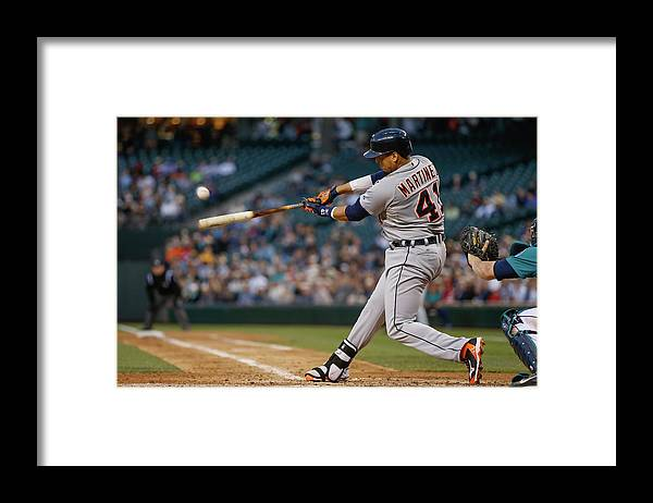 American League Baseball Framed Print featuring the photograph Victor Martinez by Otto Greule Jr